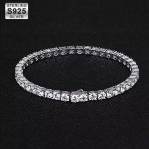 Unisex S925 4mm White Sapphire Tennis Bracelet